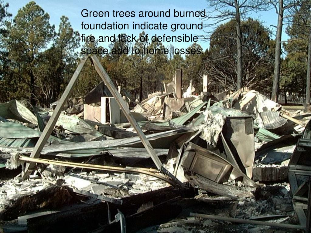 Green trees around burned foundation indicate ground fire and lack of defensible space add to home losses.