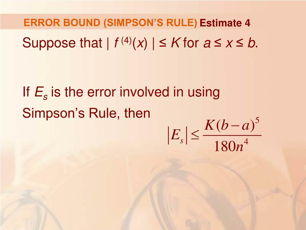 ERROR BOUND (SIMPSON'S RULE)
