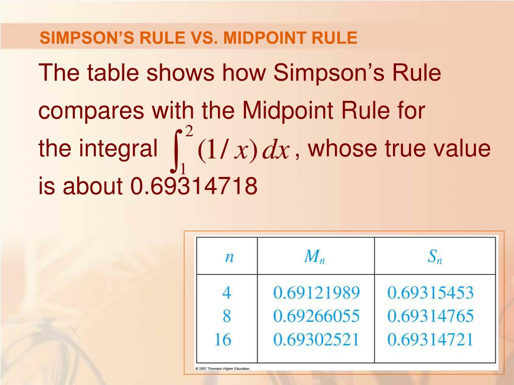SIMPSON'S RULE VS. MIDPOINT RULE