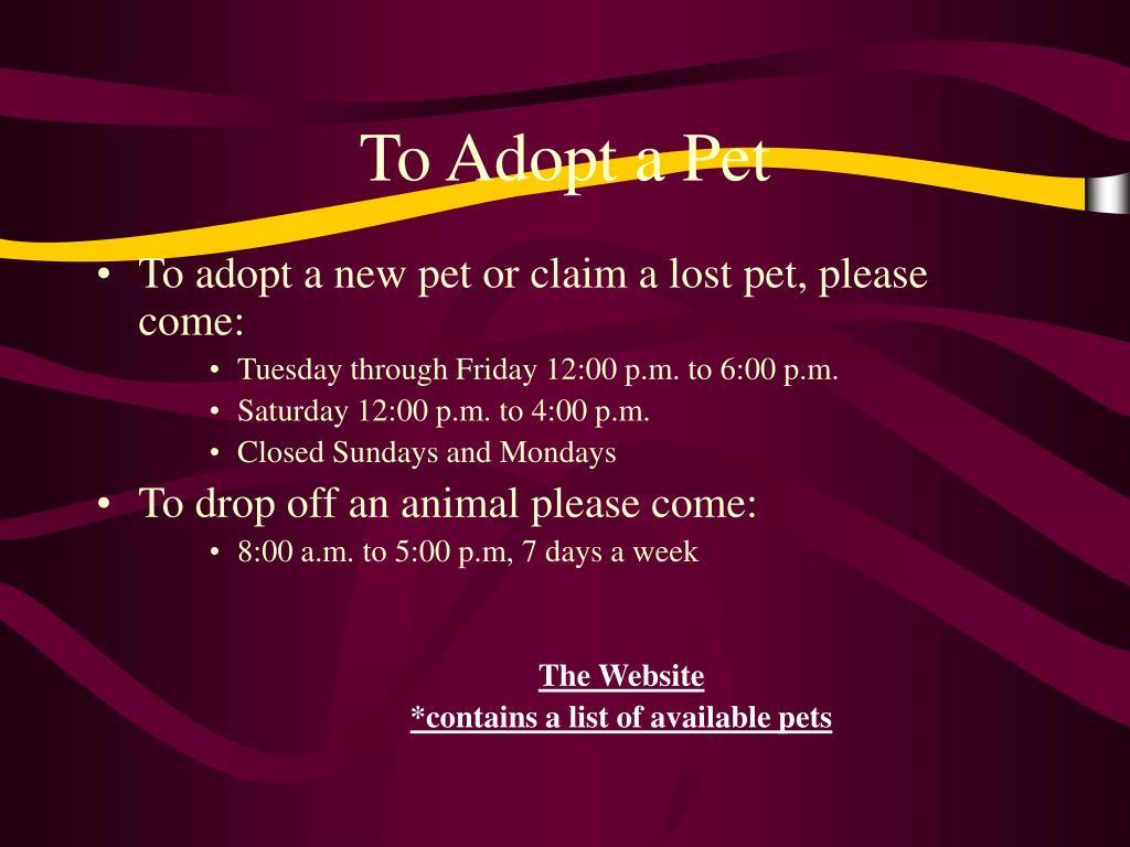 To Adopt a Pet