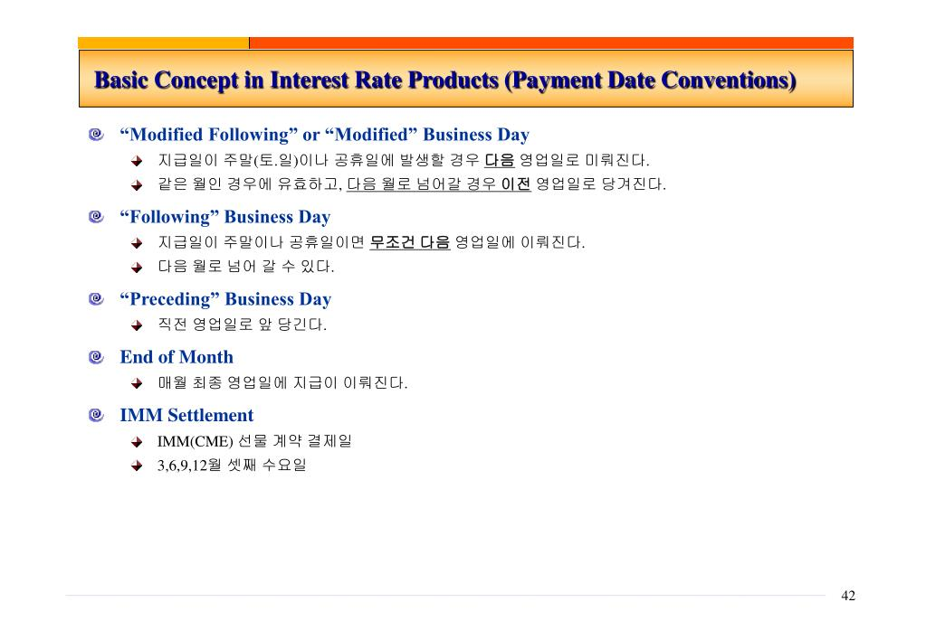 Basic Concept in Interest Rate Products (Payment Date Conventions)