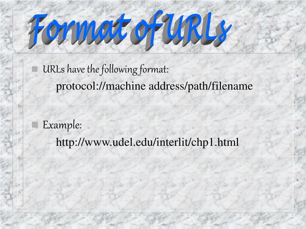 Format of URLs