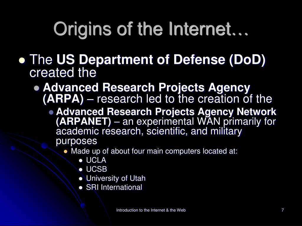 Origins of the Internet…