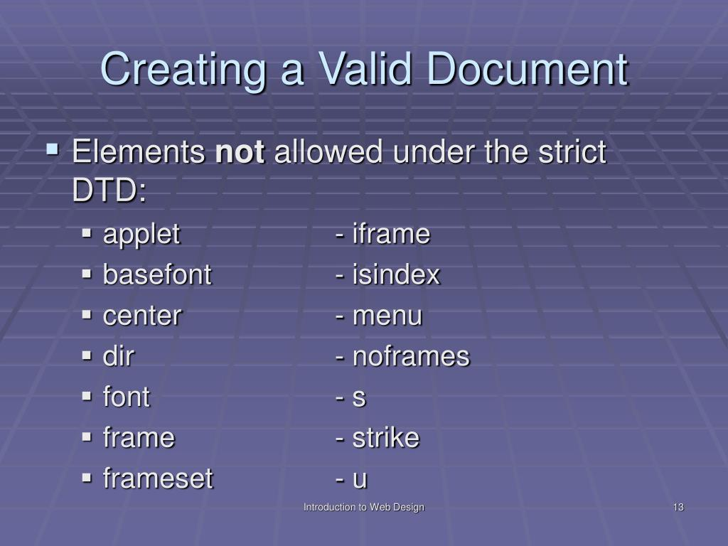 Creating a Valid Document