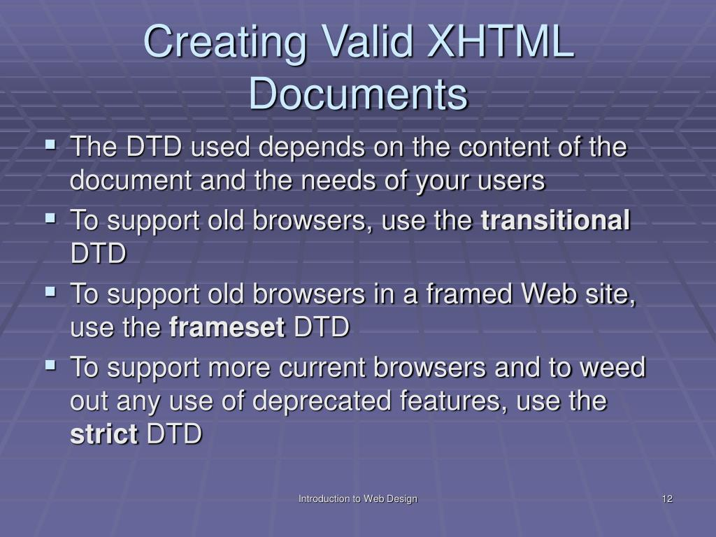 Creating Valid XHTML Documents