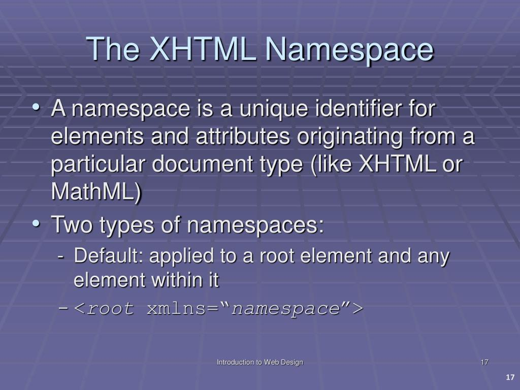 The XHTML Namespace
