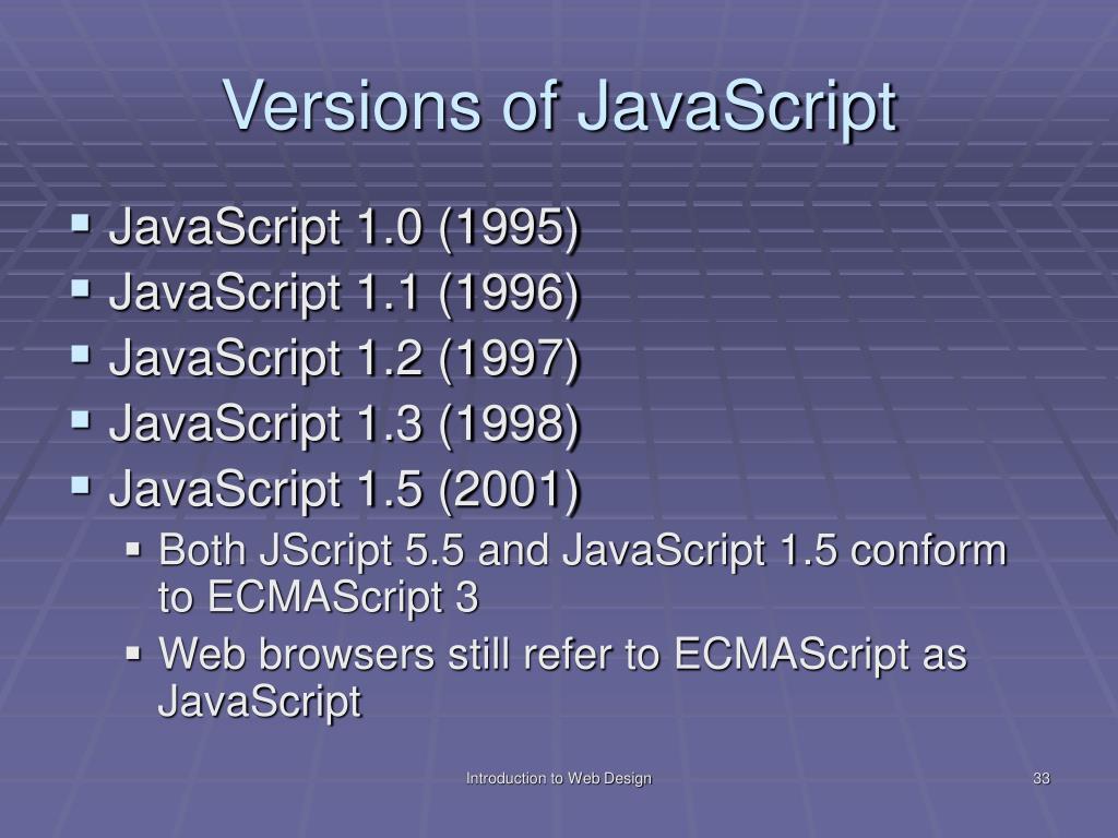 Versions of JavaScript
