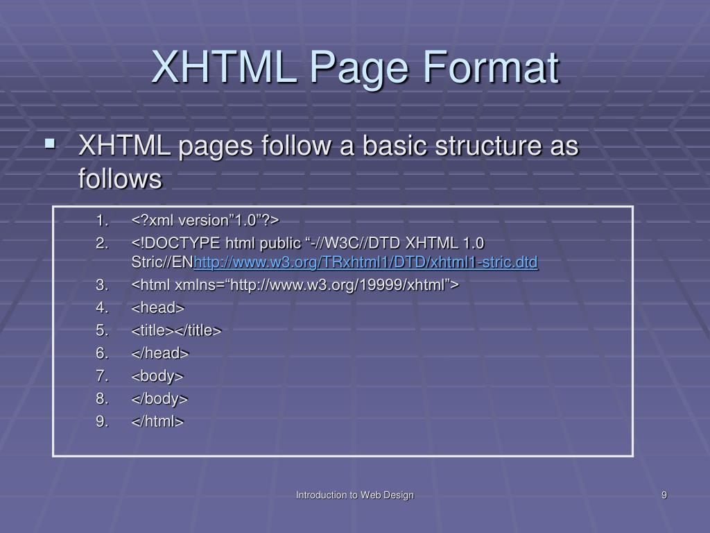 XHTML Page Format