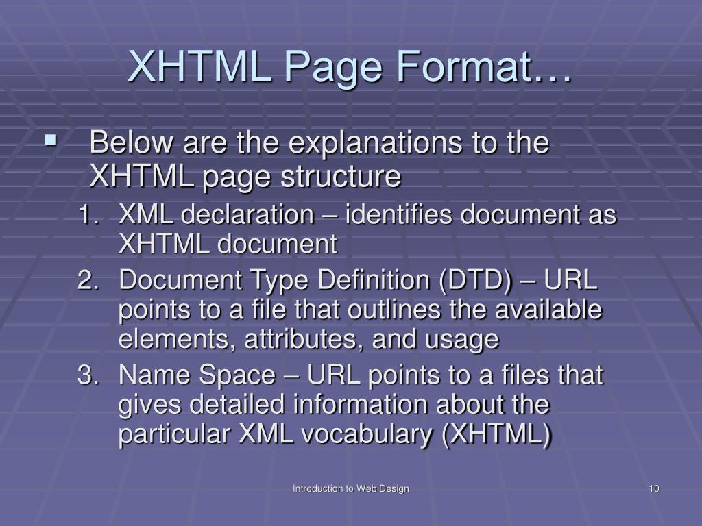 XHTML Page Format…