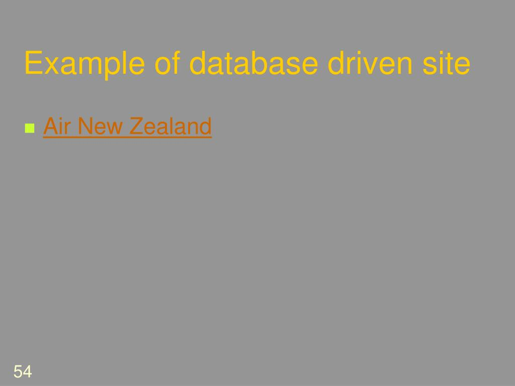 Example of database driven site