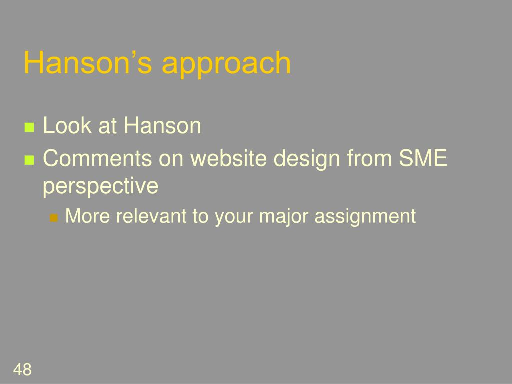Hanson's approach