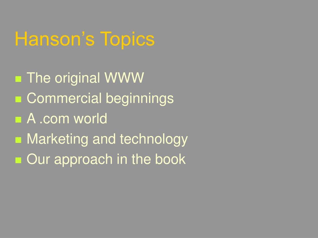 Hanson's Topics