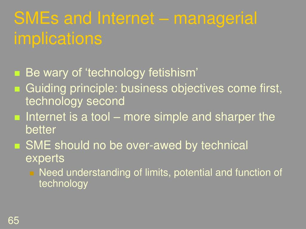 SMEs and Internet – managerial implications