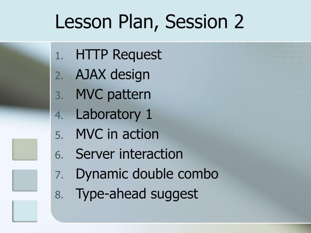 Lesson Plan, Session 2