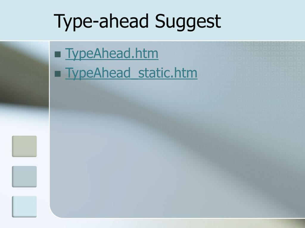 Type-ahead Suggest
