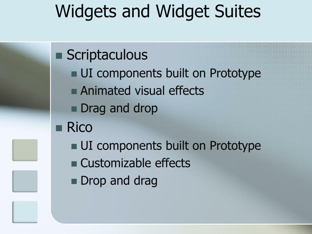 Widgets and Widget Suites