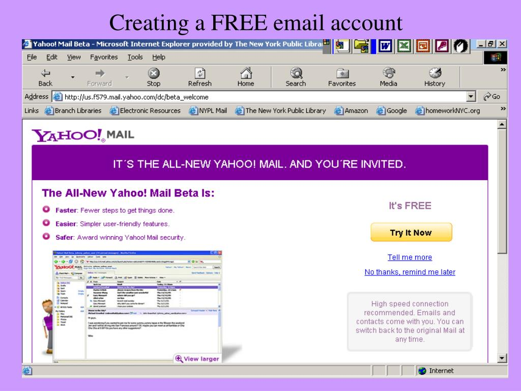 Creating a FREE email account