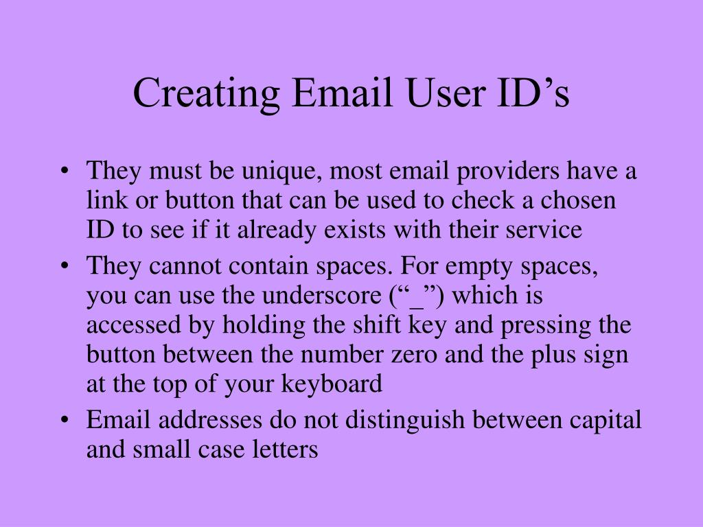 Creating Email User ID's