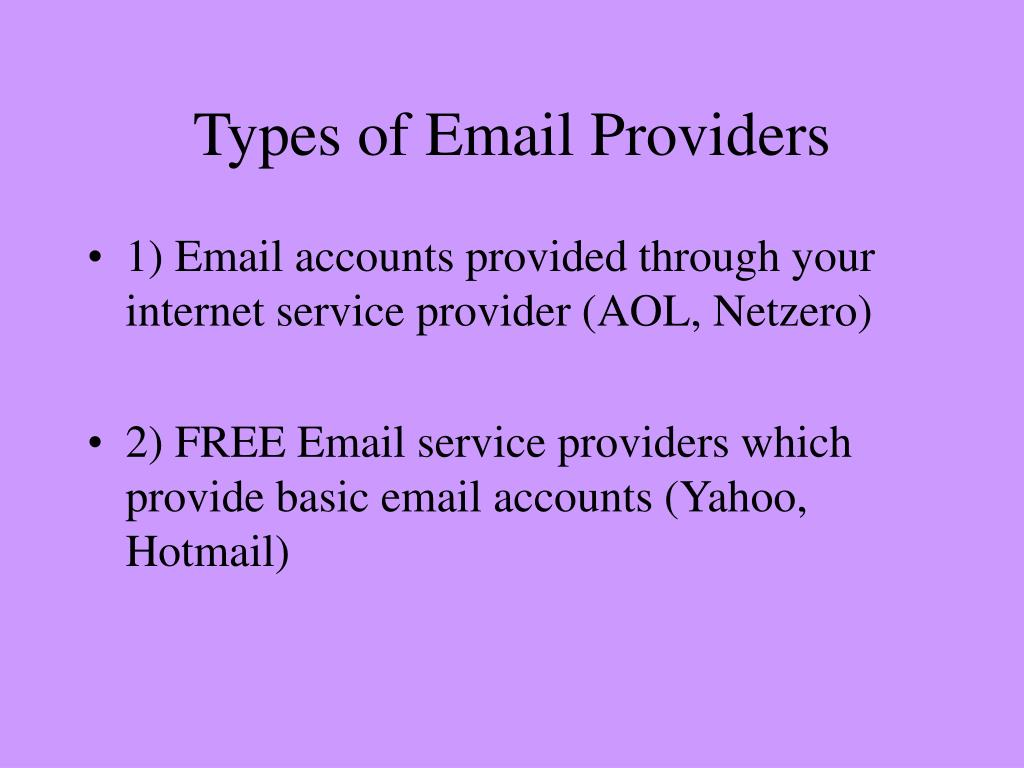 Types of Email Providers