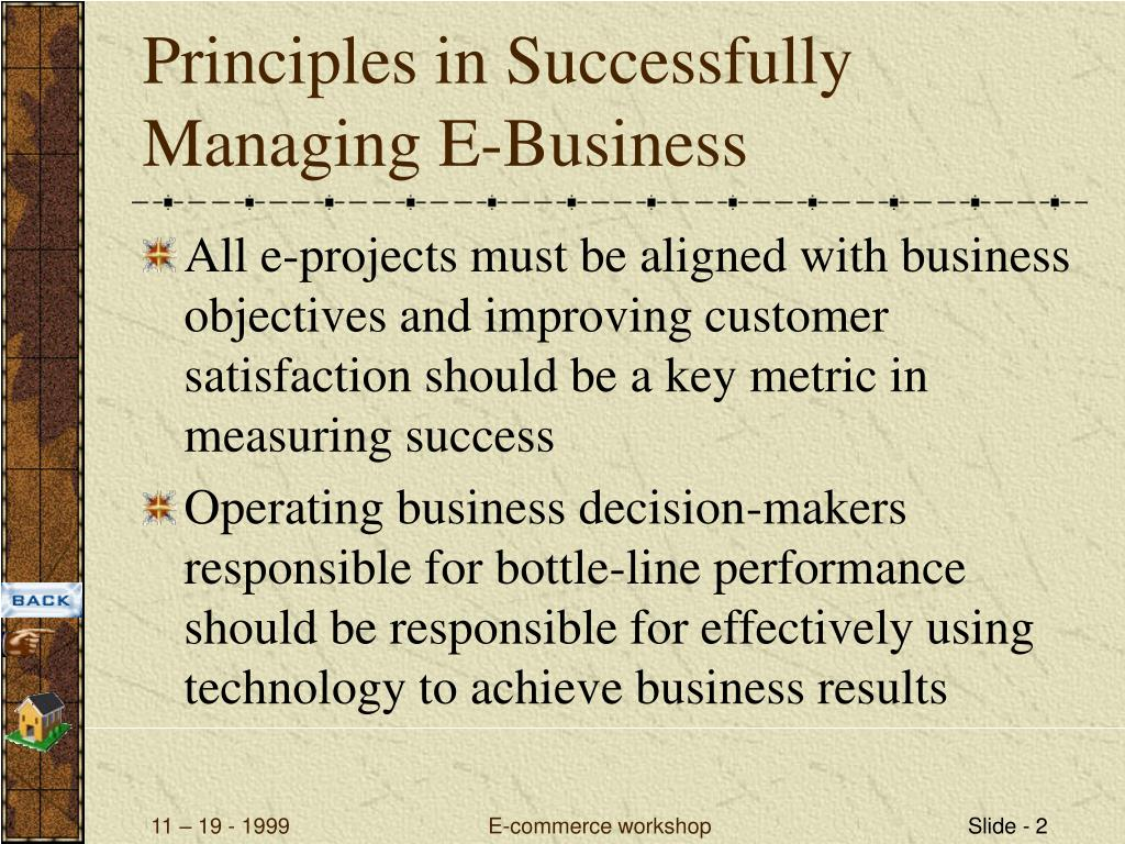 Principles in Successfully Managing E-Business