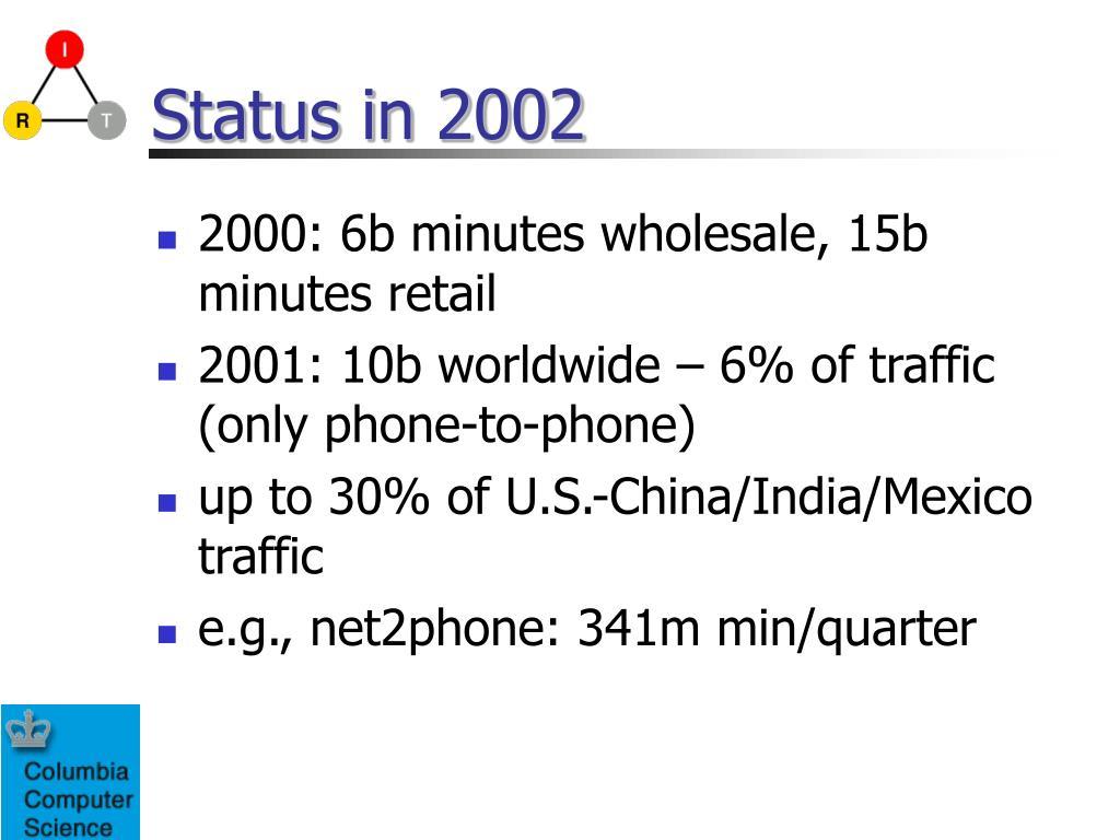 Status in 2002