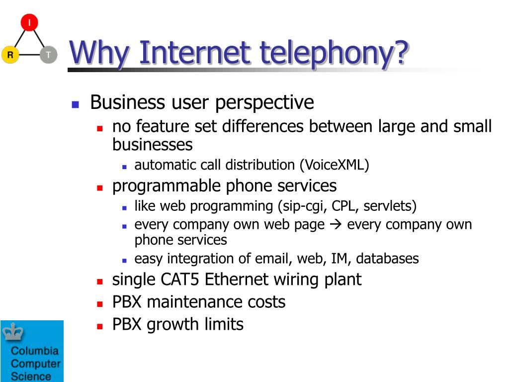 Why Internet telephony?