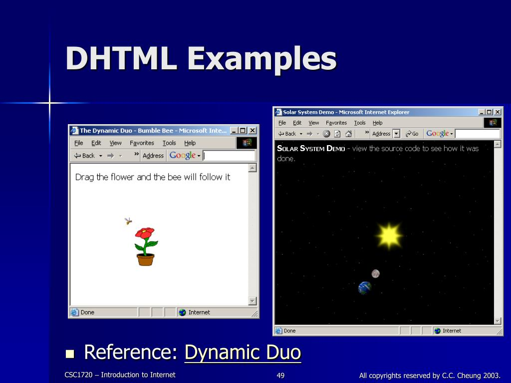 DHTML Examples