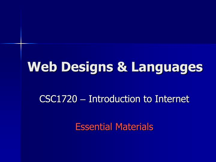 Web designs languages