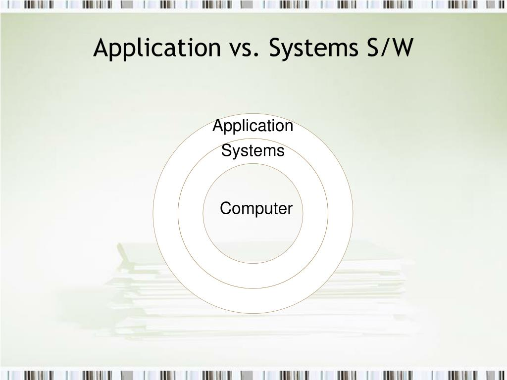 Application vs. Systems S/W