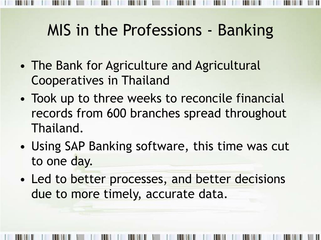 MIS in the Professions - Banking