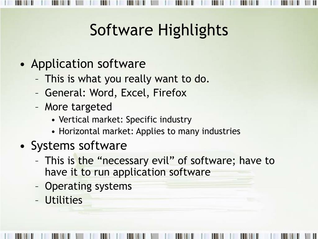 Software Highlights