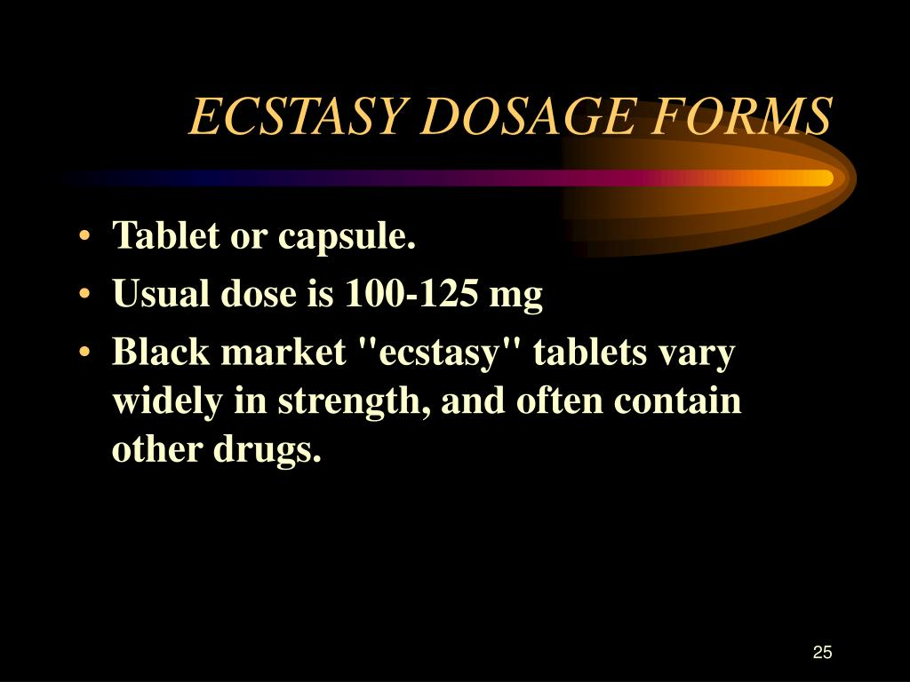 ECSTASY DOSAGE FORMS