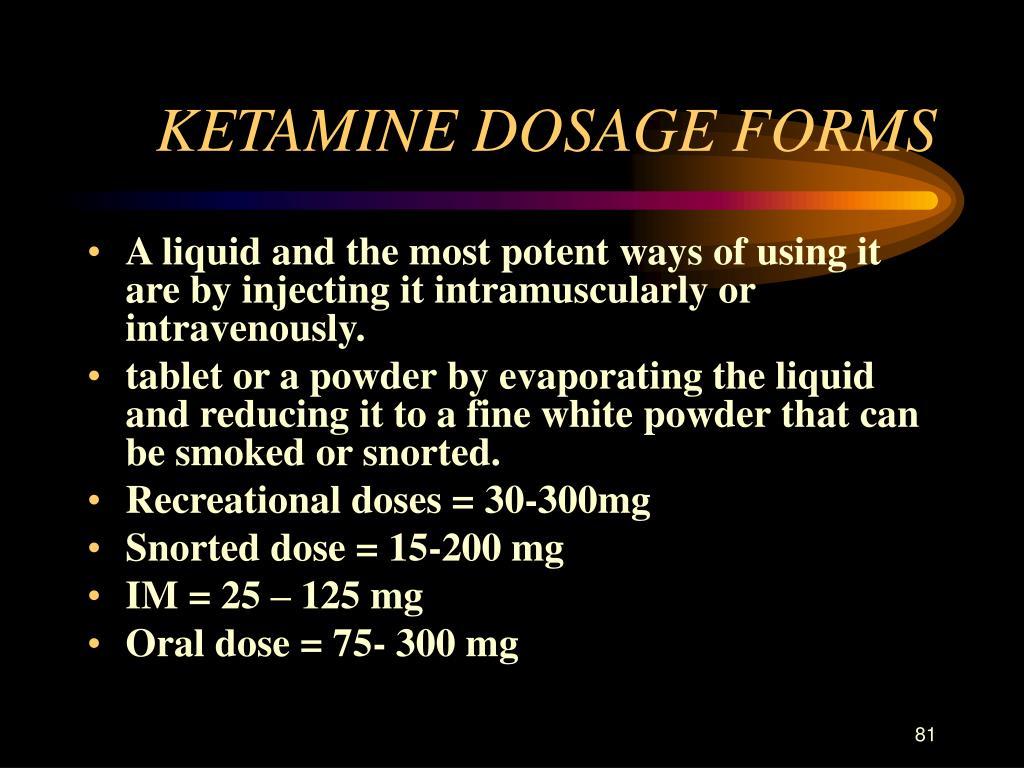 KETAMINE DOSAGE FORMS
