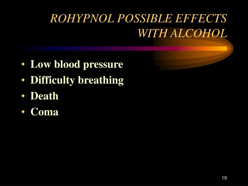 ROHYPNOL POSSIBLE EFFECTS WITH ALCOHOL