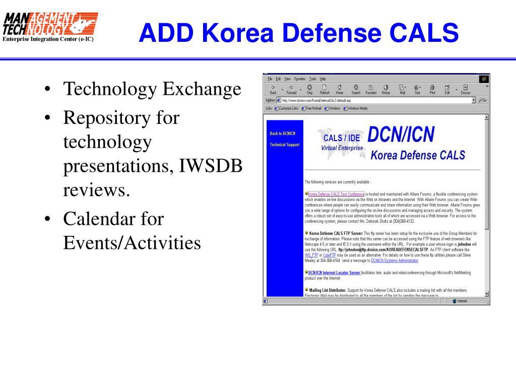 ADD Korea Defense CALS