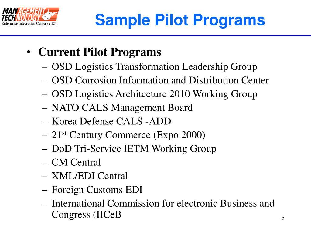 Sample Pilot Programs