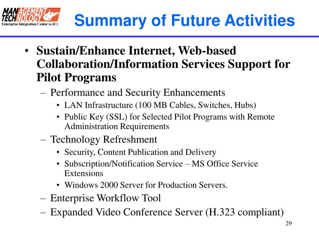 Summary of Future Activities