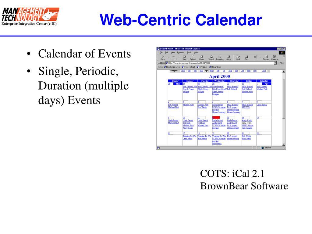 Web-Centric Calendar