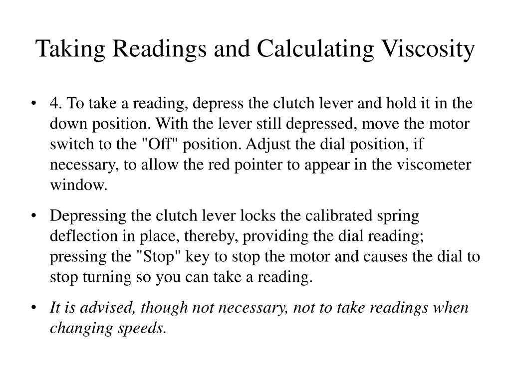 Taking Readings and Calculating Viscosity