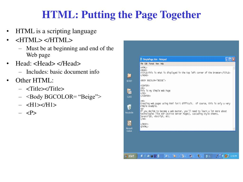 HTML: Putting the Page Together