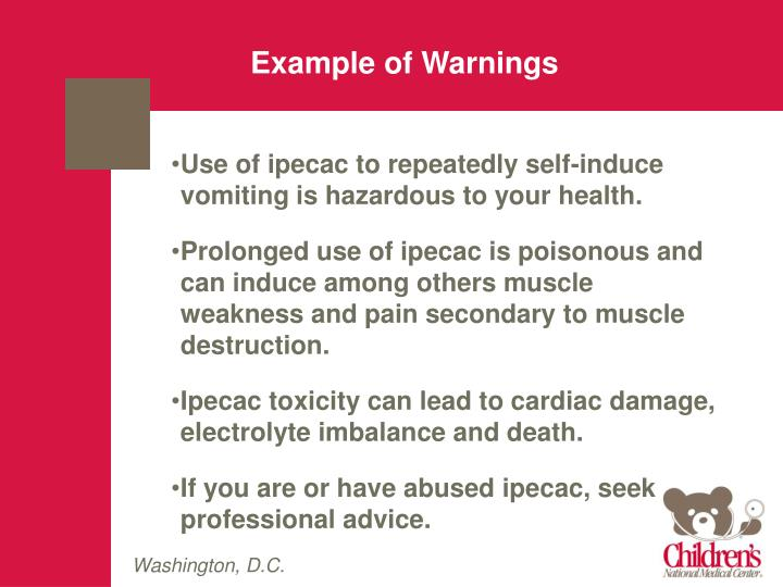 Example of Warnings