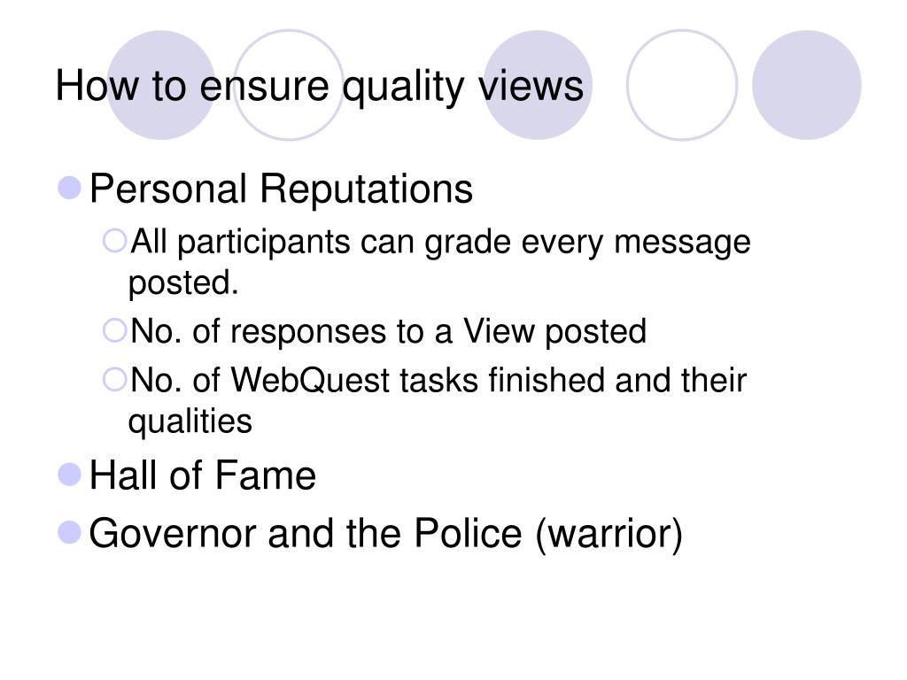 How to ensure quality views