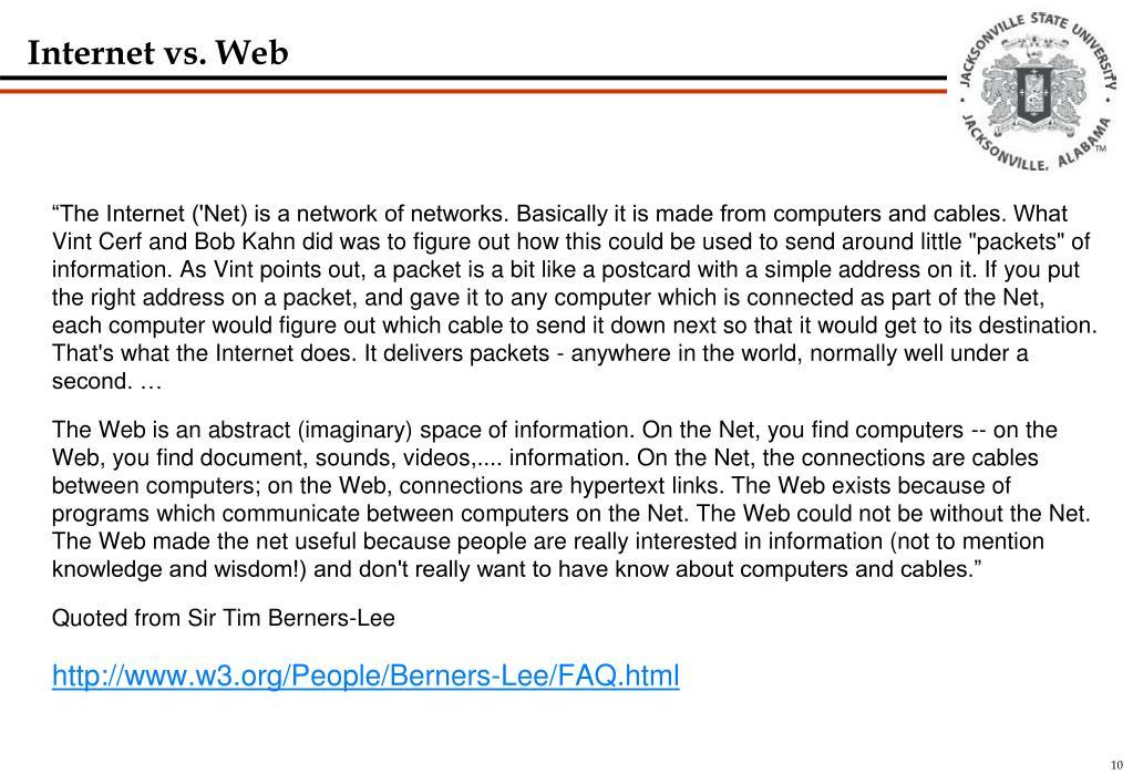 Internet vs. Web