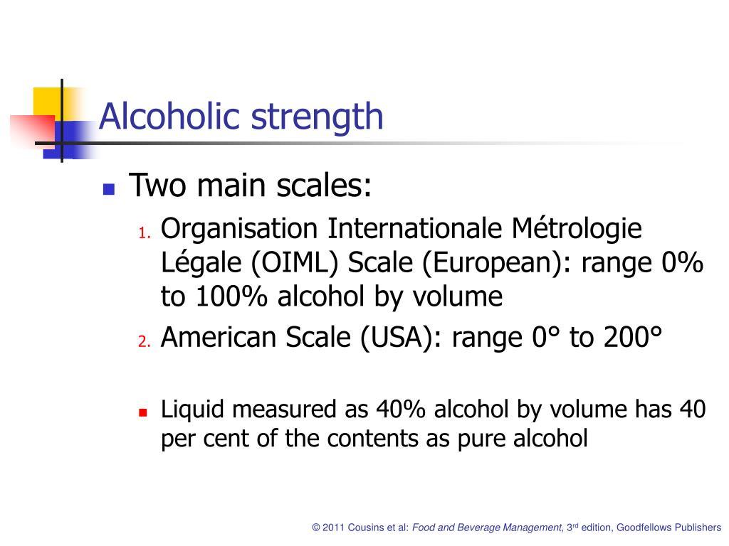 Alcoholic strength