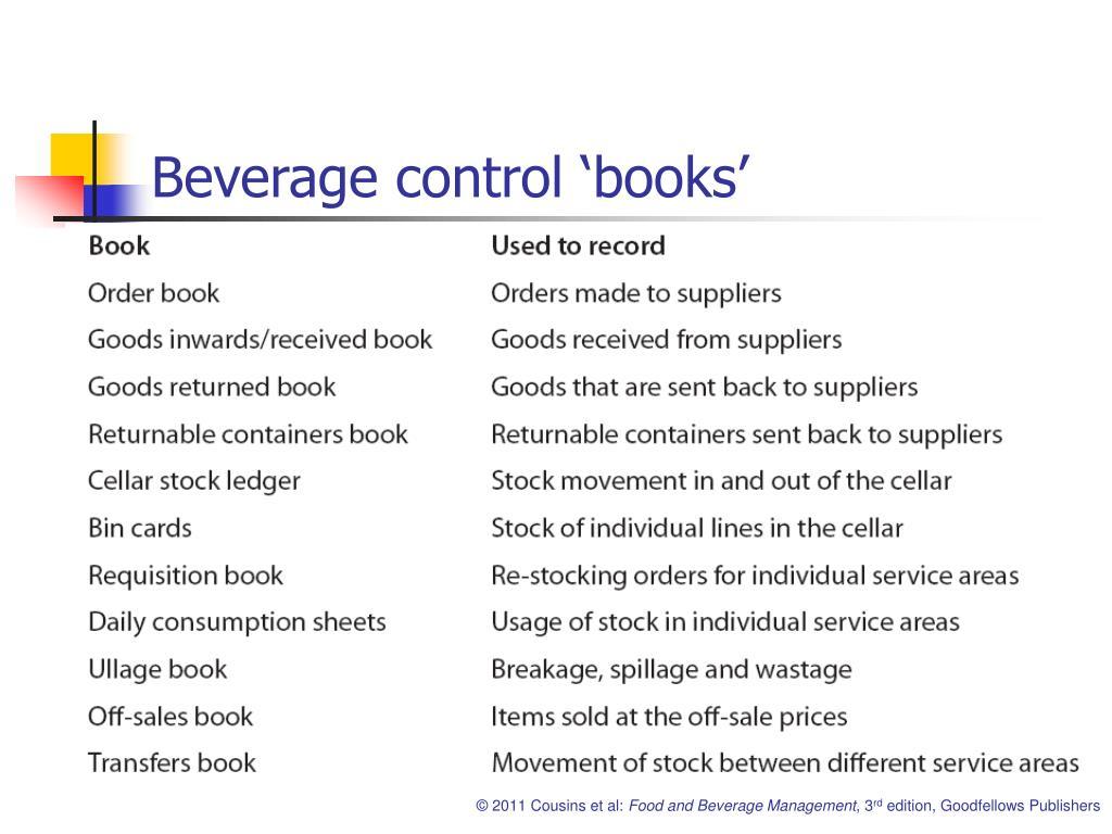 Beverage control 'books'