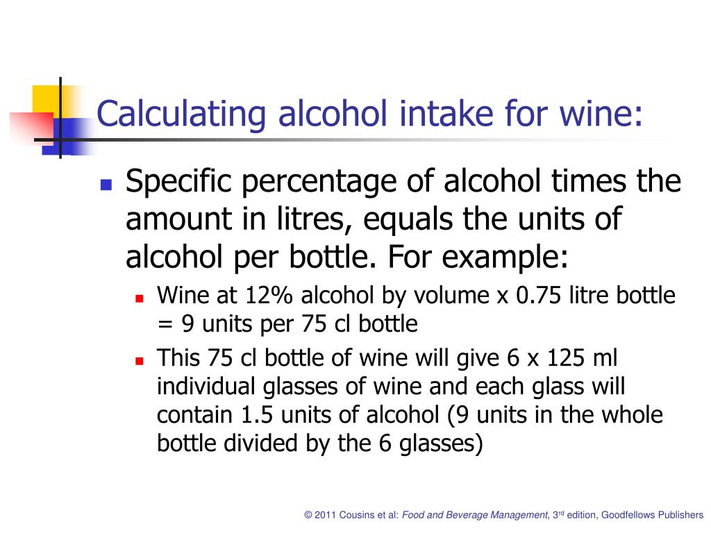 Calculating alcohol intake for wine: