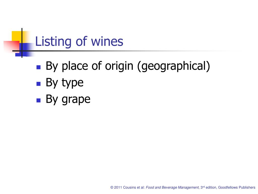 Listing of wines