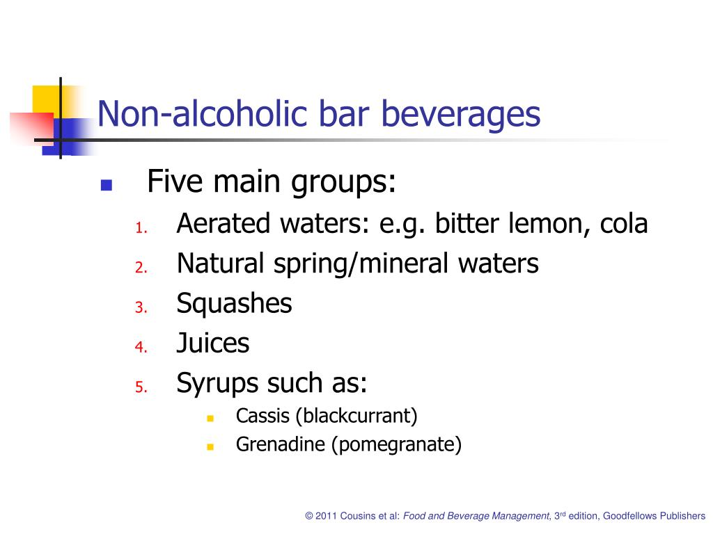 Non-alcoholic bar beverages