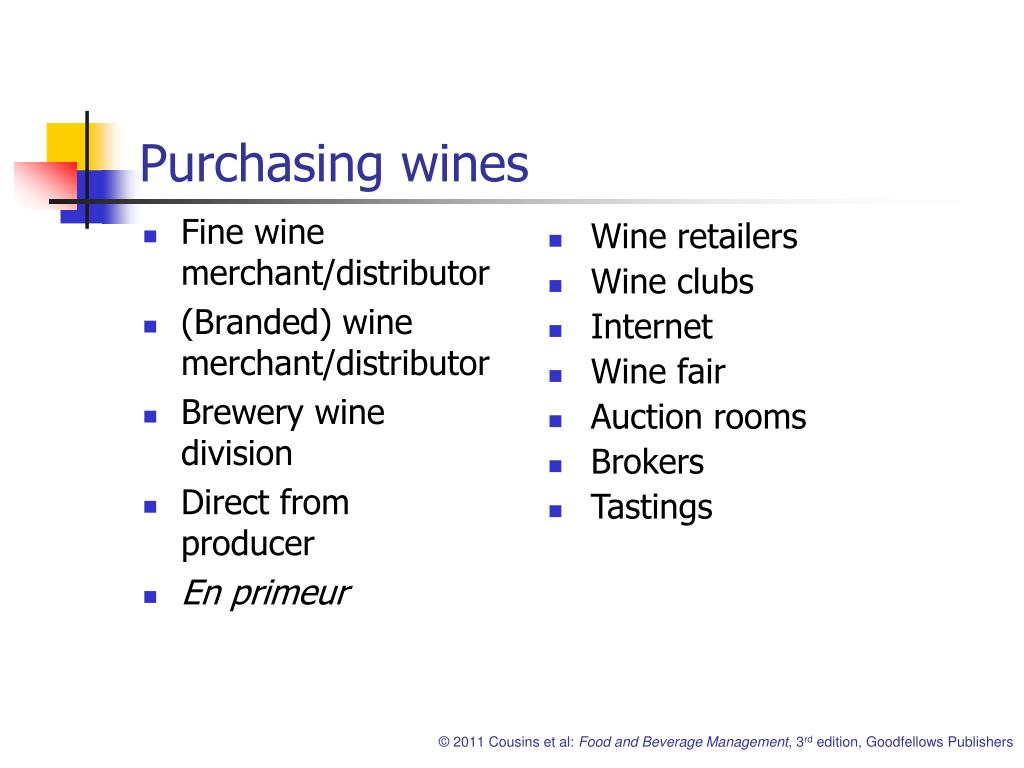 Purchasing wines