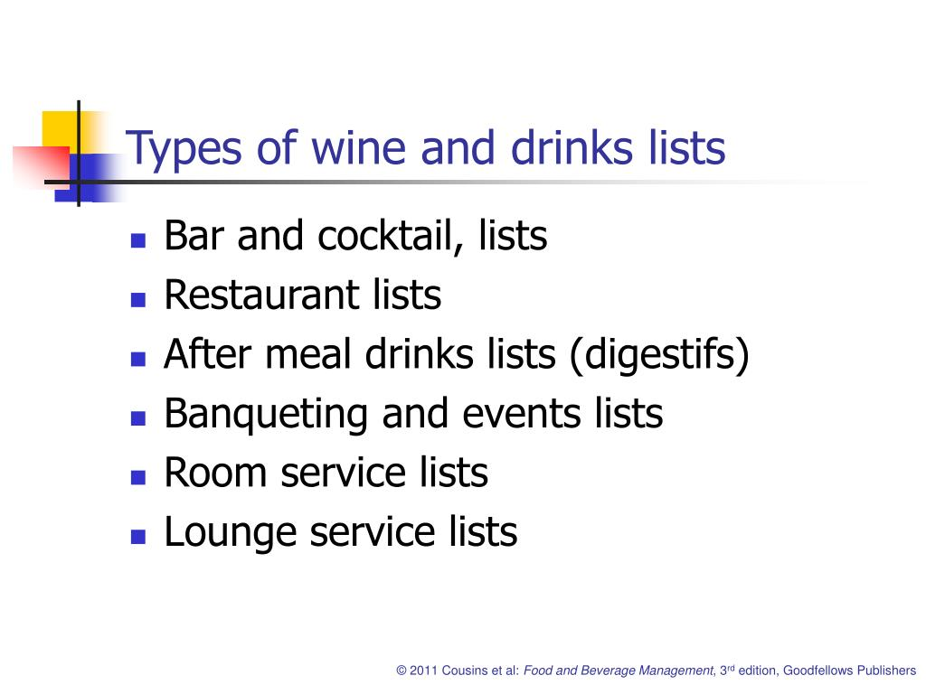 Types of wine and drinks lists